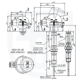 Resistance temperature sensor to thermowell DIN with connecting screw-joint on adapter without converter, with converter or Ex ia design